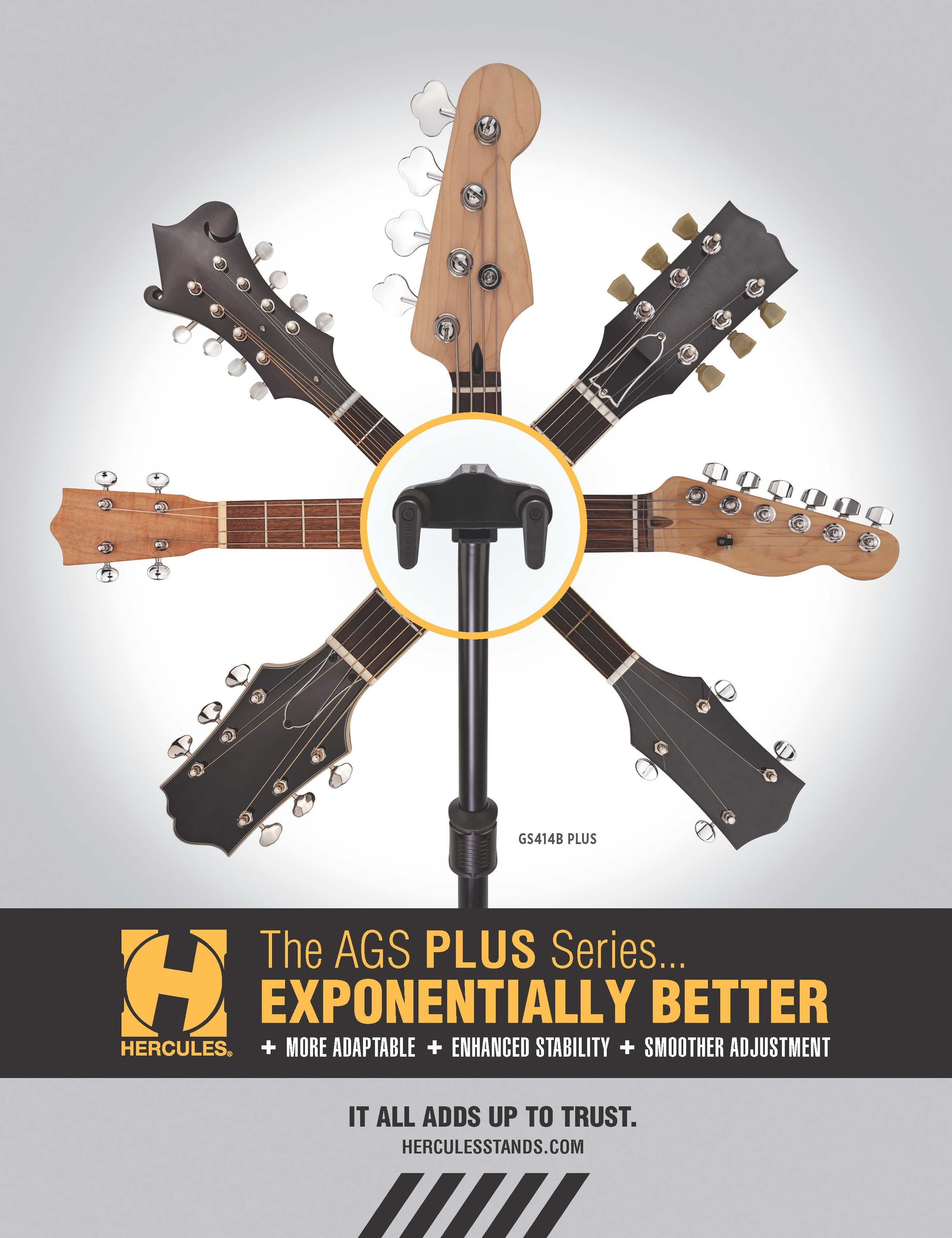 Hercules GSP40WBPLUS Plus Series Universal AutoGrip Wall Mount Guitar Hanger
